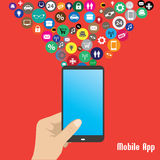 Mobile App,human hand smart phone illustration Royalty Free Stock Image