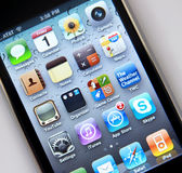 Mobile app icons. Close up of mobile application icons on iphone stock photography