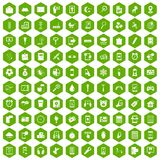 100 mobile app icons hexagon green. 100 mobile app icons set in green hexagon isolated vector illustration Stock Images