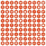 100 mobile app icons hexagon orange. 100 mobile app icons set in orange hexagon isolated vector illustration Stock Image