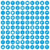 100 mobile app icons set blue. 100 mobile app icons set in blue hexagon isolated vector illustration stock illustration
