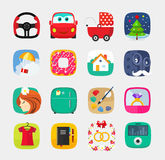 Mobile app icons set flat style, web user interface design Stock Images