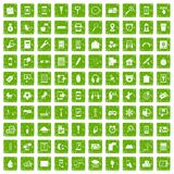 100 mobile app icons set grunge green Stock Images