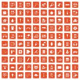 100 mobile app icons set grunge orange. 100 mobile app icons set in grunge style orange color isolated on white background vector illustration Vector Illustration