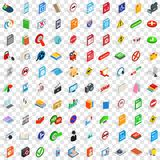 100 mobile app icons set, isometric 3d style. 100 mobile app icons set in isometric 3d style for any design vector illustration Royalty Free Stock Photo