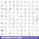 100 mobile app icons set, outline style. 100 mobile app icons set in outline style for any design vector illustration Stock Images