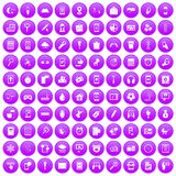 100 mobile app icons set purple. 100 mobile app icons set in purple circle isolated on white vector illustration Royalty Free Stock Photography