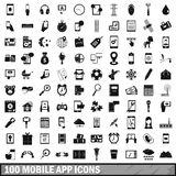100 mobile app icons set, simple style Royalty Free Stock Images