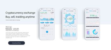 Mobile app infographic template with modern design weekly and annual statistics graphs. royalty free illustration