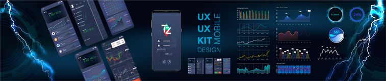 Mobile app infographic template with modern design weekly and statistics graphs. Modern design responsive management and administration. Dashboard UI mobile vector illustration
