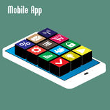 Mobile app, isometric Stock Photos