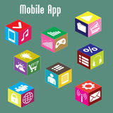 Mobile app, isometric Royalty Free Stock Images