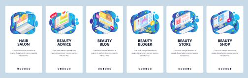 Free Mobile App Onboarding Screens. Beauty Blog And Cosmetic Online Store, Haircut Salon. Menu Vector Banner Template For Stock Image - 167115781