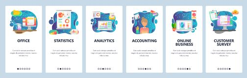 Mobile app onboarding screens. Business financial analytics, office desk, accounting and online business. Menu vector. Banner template for website and mobile royalty free illustration