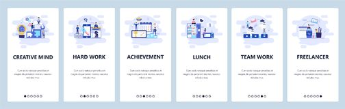 Mobile app onboarding screens. Business management, teamwork, lunch break, freelancer and office. Menu vector banner
