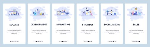 Mobile app onboarding screens. Business strategy, social media, online shopping and sales, digital marketing. Menu. Vector banner template for website and stock illustration