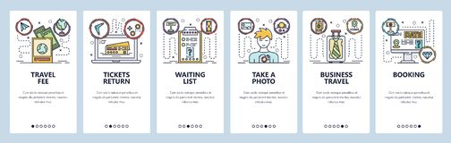 Mobile app onboarding screens. Business travel, buy tickets, online booking, passport photo. Menu vector banner template. For website and mobile development vector illustration