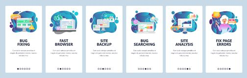 Mobile app onboarding screens. Computer bug fixing and testing, website analysis, backup. Menu vector banner template. For website and mobile development. Web stock illustration