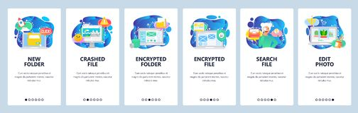 Free Mobile App Onboarding Screens. Computer Security Technology, Encrypted Files And Data, Search Files, Corrupted. Vector Stock Image - 161201121