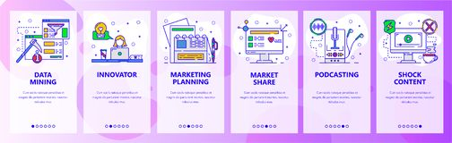 Mobile app onboarding screens. Data mining, audio and video content, podcast. Menu vector banner template for website. And mobile development. Web site design stock illustration
