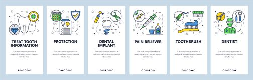 Mobile app onboarding screens. Dental care, tooth implant, dentist doctor and health insurance. Menu vector banner vector illustration
