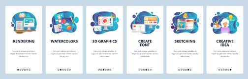 Mobile app onboarding screens. Digital art and watercolor painting, 3d rendering, sketching, font. Menu vector banner. Template for website and mobile vector illustration