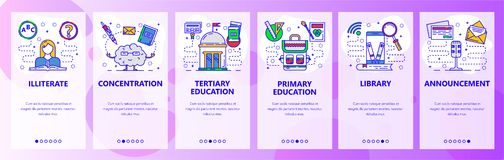 Mobile app onboarding screens. Education system, digital library in phone, illiterate. Menu vector banner template for. Website and mobile development. Web site stock illustration