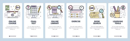 Mobile app onboarding screens. Online education, courses, school, book library. Menu vector banner template for website. Mobile app onboarding screens. Online royalty free illustration