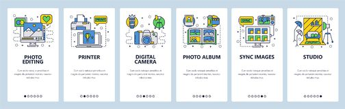 Mobile app onboarding screens. Photography studio, photo editing, digital camera, printer and album. Menu vector banner vector illustration