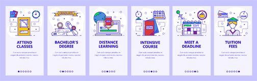 Mobile app onboarding screens. School and college education, distance online learning, intensive cources. Menu vector royalty free illustration