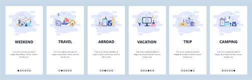Mobile app onboarding screens. Vacation, travel destinations, weekend camping. Menu vector banner template for website. And mobile development. Web site design royalty free illustration