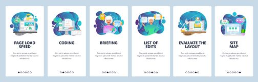 Mobile app onboarding screens. Web page loading, coding, sitemap, software development. Menu vector banner template for. Website and mobile development. Web royalty free illustration
