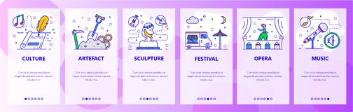 Mobile app onboarding screens. World culture and art, literature, theatre, music. Menu vector banner template for vector illustration