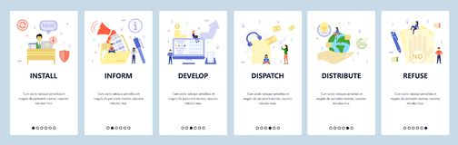 Free Mobile App Onboarding Screens. World Delivery, Message Announcement, Refuse Sign, Install Software. Menu Vector Banner Royalty Free Stock Images - 162481189