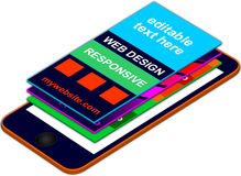 Mobile app presentation 3D floating layers on top of smart-phone Stock Photo