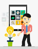 Mobile app startup idea. Young businessman showing Stock Image