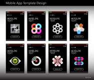 Mobile App Template Design. Eight options of mobile app vector template design. Abstract geometric symbols isolated on a black background royalty free illustration