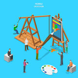 Mobile app UI design flat isometric vector concept Stock Photos