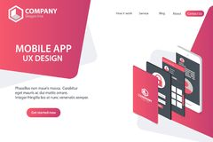 Mobile APP Website Landing Page Vector Template Concept Design stock illustration
