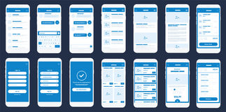 Mobile App Wireframe Ui Kit. Detailed wireframe for quick prototyping. Stock Photos