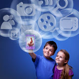 Mobile application from the cloud Stock Photo
