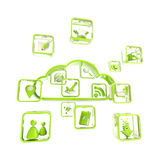 Mobile application cloud technology icon Stock Images