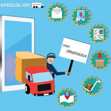 Mobile application concept, Delivery by truck - vector. Illustration Royalty Free Stock Photo
