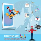 Mobile application concept,Easy call motorcycle application. Mobile application concept,Easy call motorcycle application for delivery - vector illustration Stock Images