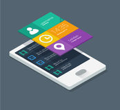 Mobile application concept. In flat colors and isometric design Royalty Free Stock Images