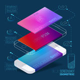 Mobile application concept of phone. With color screenshot description and flat wireframes Stock Image