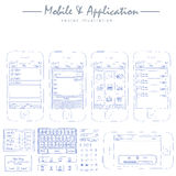 mobile application concept sketch drawing vector Royalty Free Stock Images