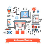 Mobile application design, coding process concept Stock Photo
