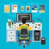 Mobile application developer. Programmer working on computer stock illustration
