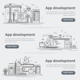 Mobile application development building process banner set. Flat line vector design concept banner templates set of mobile application development, app design vector illustration